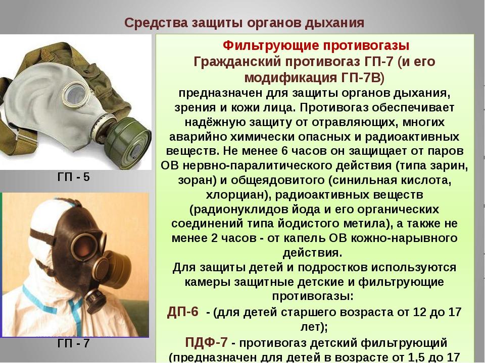 Фильтрующие противогазы Гражданский противогаз ГП-7 (и его модификация ГП-7В...