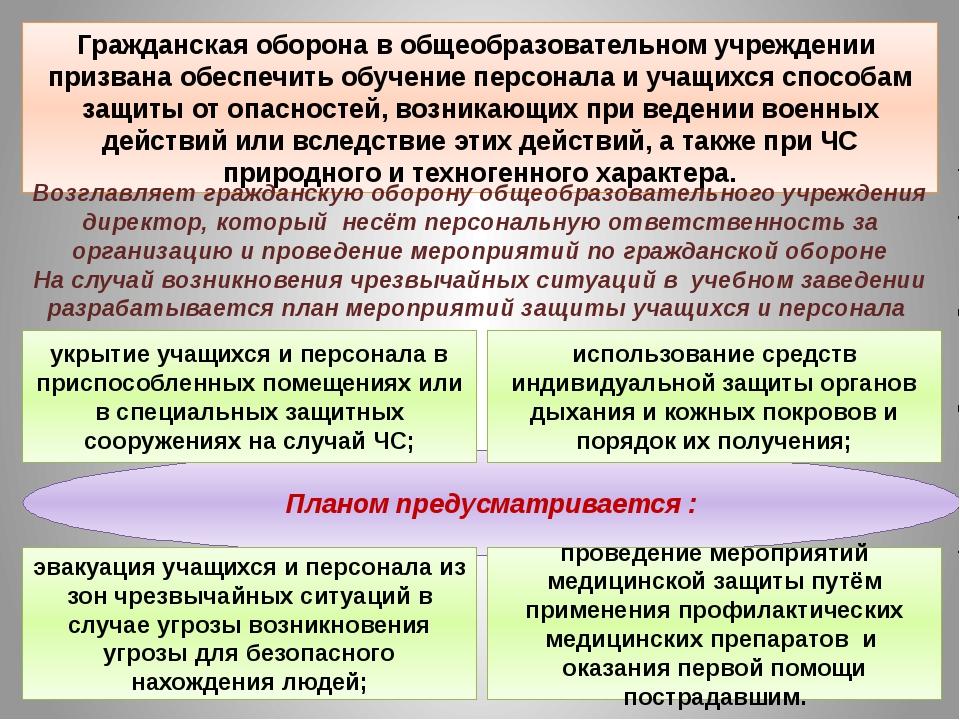 Планом предусматривается : Гражданская оборона в общеобразовательном учрежден...