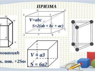 ПРИЗМА V = Sоснованияh S = Sбок. пов. +2Sосн V = a3 S = 6a2 V=abc. S=2(ab + b