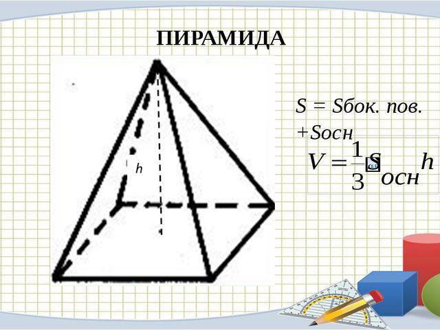 ПИРАМИДА S = Sбок. пов. +Sосн