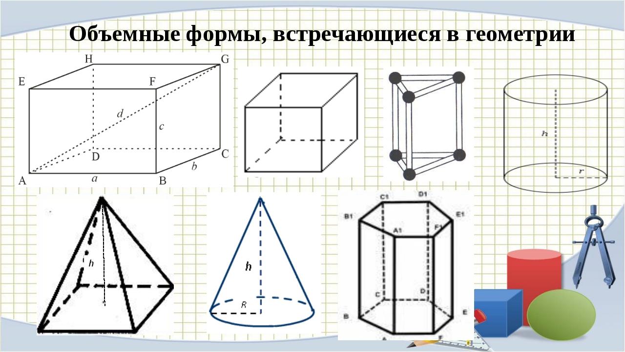 Объемные формы, встречающиеся в геометрии h