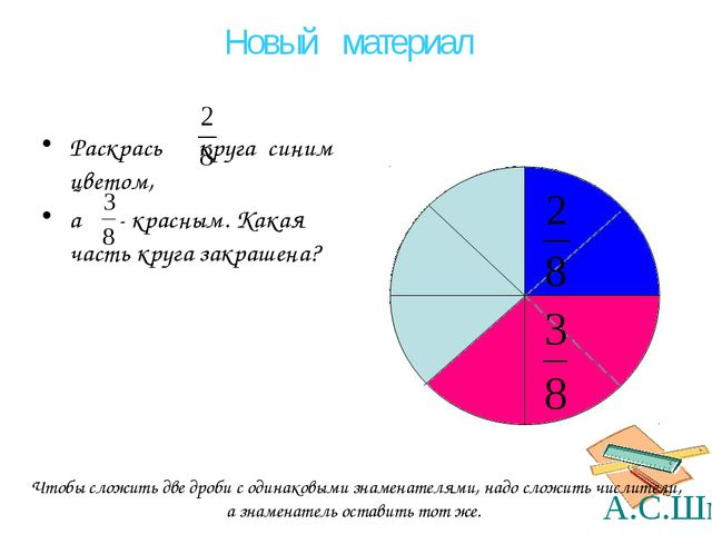 Раскрась круга синим цветом, а - красным. Какая часть круга закрашена? Чтобы...