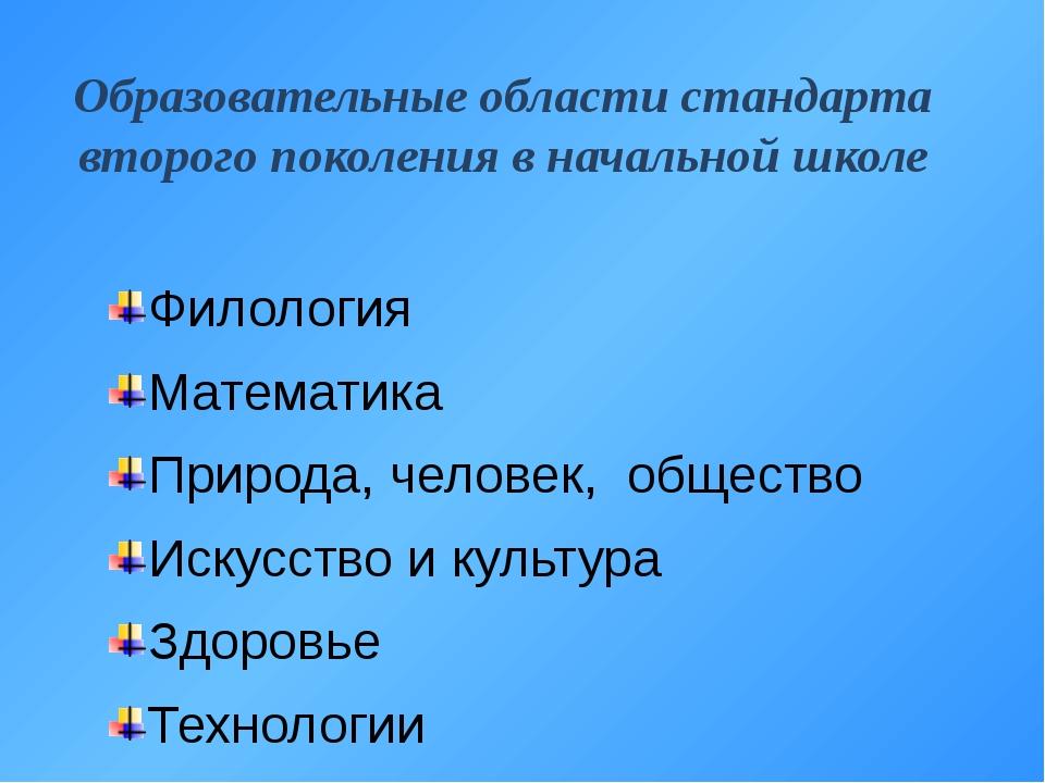 Образовательные области стандарта второго поколения в начальной школе Филолог...