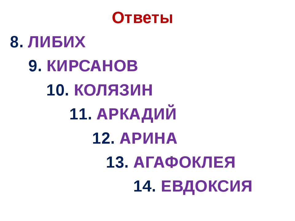 Ответы 8. ЛИБИХ 9. КИРСАНОВ 10. КОЛЯЗИН 11. АРКАДИЙ 12. АРИНА 13. АГАФОКЛЕЯ...