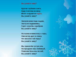 Вы узнаёте зиму?  Кругом глубокие снега, Куда я взгляд ни кину, Метёт и кру