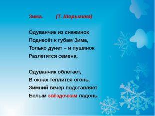 Зима.  (Т. Шорыгина) Одуванчик из снежинок Поднесёт к губам Зима, Только ду