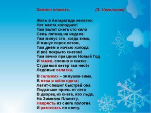 Зимняя планета. (Э. Цегельник) Жить в Антарктиде нелегко: Нет места холоднее