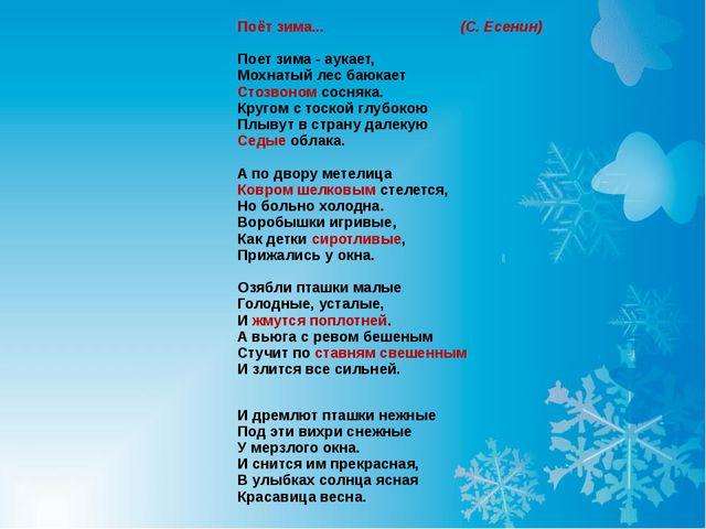 Поёт зима... (С. Есенин) Поет зима - аукает, Мохнатый лес баюкает Стозвоном...