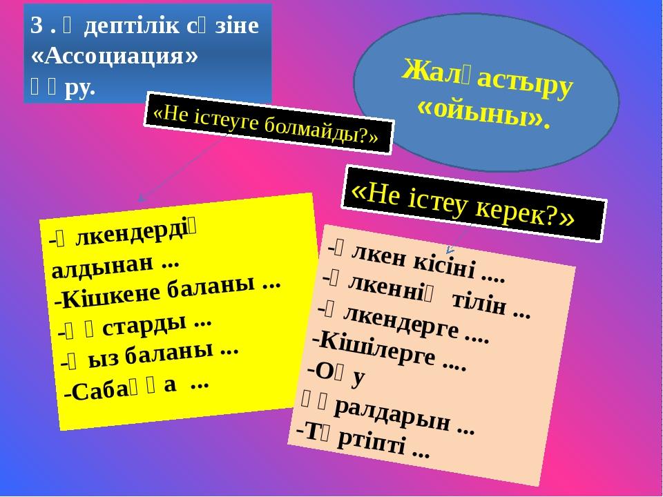 3 . Әдептілік сөзіне «Ассоциация» құру. Жалғастыру «ойыны». «Не істеуге болма...