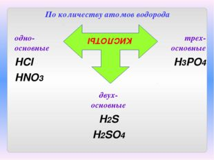 По количеству атомов водорода КИСЛОТЫ одно-основные HCl HNO3 двух-основные H