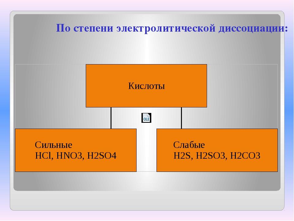 По степени электролитической диссоциации: