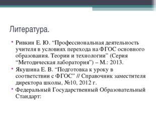 """Литература. Ривкин Е. Ю. """"Профессиональная деятельность учителя в условиях пе"""