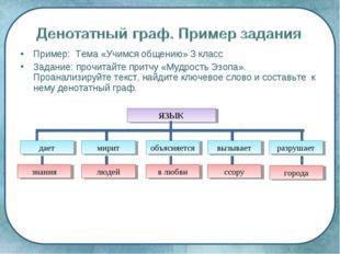Пример: Тема «Учимся общению» 3 класс Задание: прочитайте притчу «Мудрость Эз