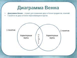 Диаграмма Венна – служит для сравнения двух и более предметов, понятий. Строи