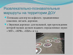 Развлекательно-познавательные маршруты на территории ДОУ Площадка для игр на