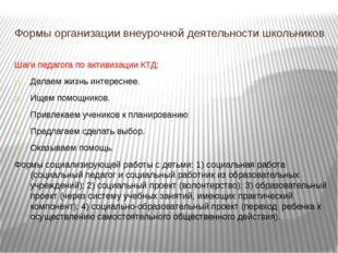Формы организации внеурочной деятельности школьников Шаги педагога по активиз