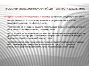 Формы организации внеурочной деятельности школьников Методика социально-образ