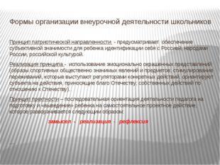 Формы организации внеурочной деятельности школьников Принцип патриотической н