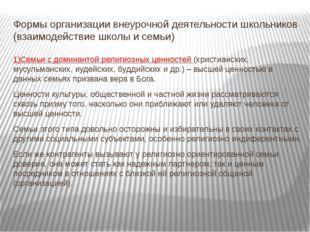 Формы организации внеурочной деятельности школьников (взаимодействие школы и