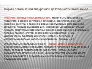 Формы организации внеурочной деятельности школьников Туристско-краеведческая