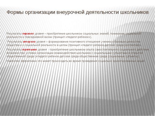 Формы организации внеурочной деятельности школьников Результаты первого уровн...