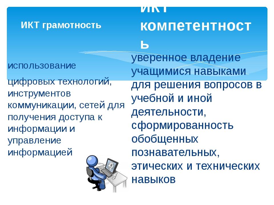 ИКТ грамотность использование цифровых технологий, инструментов коммуникации,...