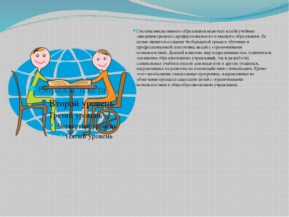 Система инклюзивного образования включает в себя учебные заведения среднего,...