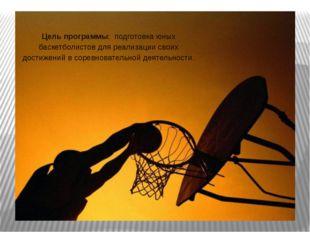 Цель программы: подготовка юных баскетболистов для реализации своих достижен