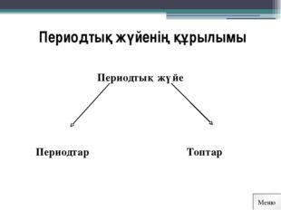 Периодтық жүйенің құрылымы Периодтық жүйе        Периодтар