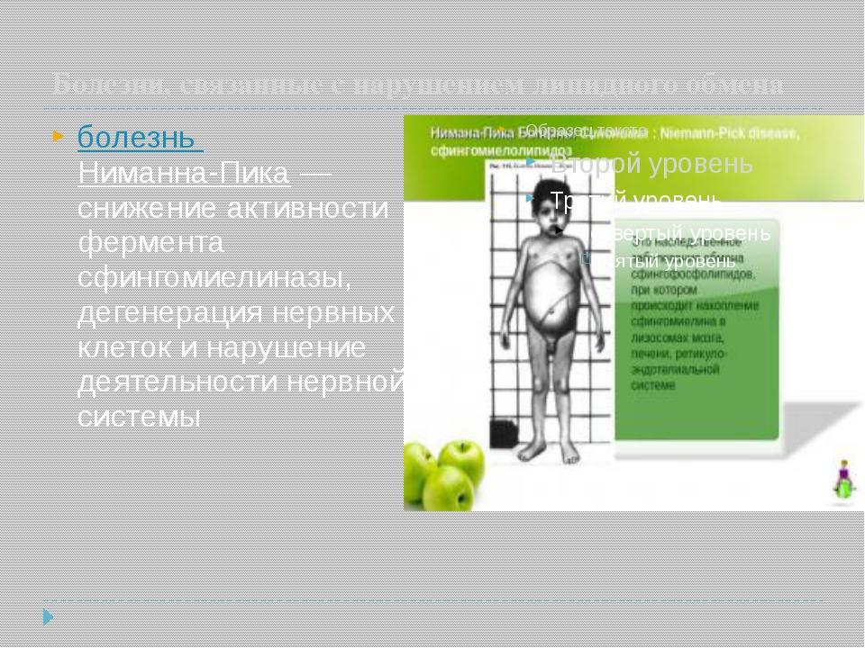 Болезни, связанные с нарушением липидного обмена болезнь Ниманна-Пика— сниж...