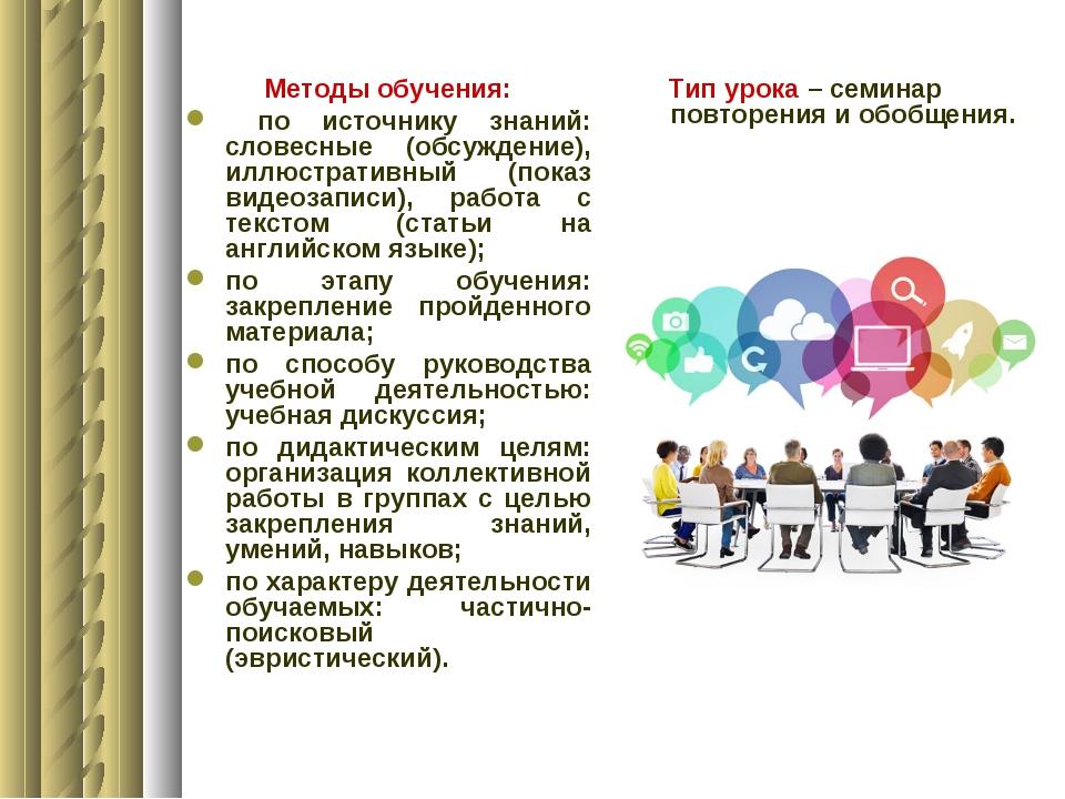 Методы обучения: по источнику знаний: словесные (обсуждение), иллюстративный...
