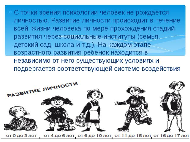 С точки зрения психологии человек не рождается личностью. Развитие личности п...