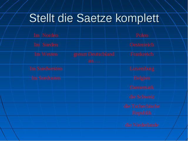 Stellt die Saetze komplett Im NordenPolen Im SuedenOesterreich Im Westen...