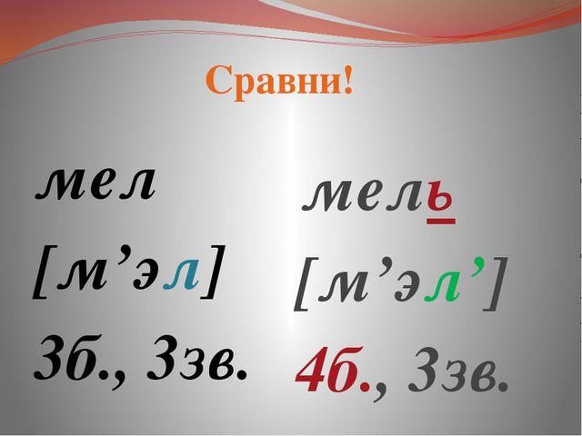 мел [м'эл] 3б., 3зв.