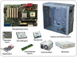 Материнская плата Звуковая карта Жесткий диск Процессор Корпус системного бло