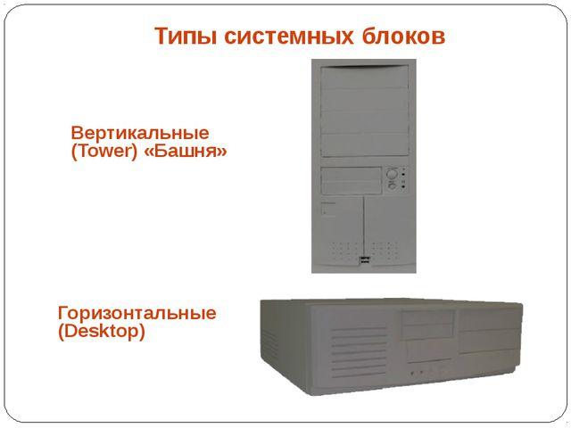 Типы системных блоков Горизонтальные (Desktop) Вертикальные (Tower) «Башня»