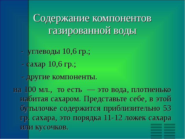 Содержание компонентов газированной воды - углеводы 10,6 гр.; - сахар 10,6 гр...