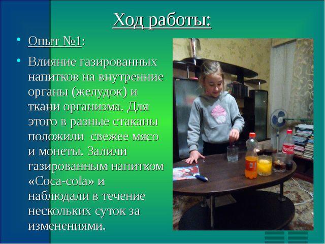 Ход работы: Опыт №1: Влияние газированных напитков на внутренние органы (желу...
