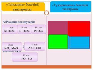 A)Реакция теңдеулерін аяқтап , теңестір.  B) Валенттілік бойынша формула құ