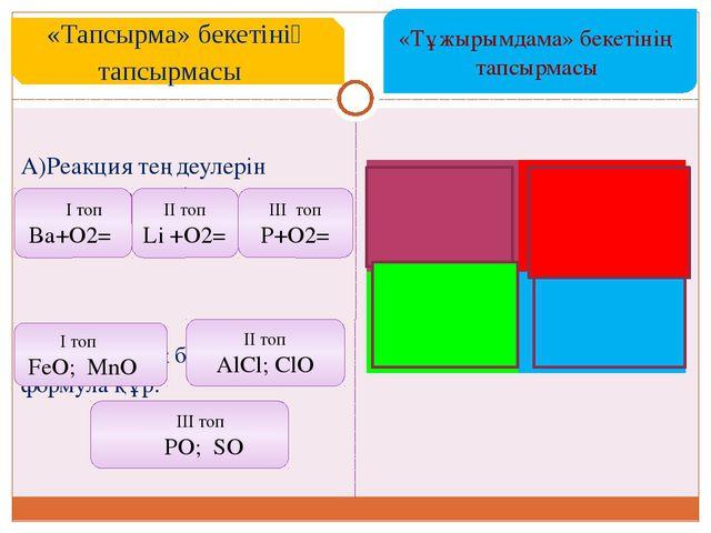 A)Реакция теңдеулерін аяқтап , теңестір.  B) Валенттілік бойынша формула құ...