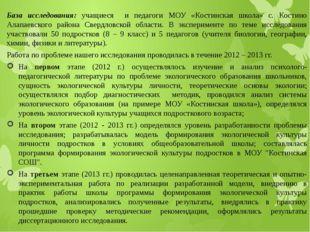 База исследования: учащиеся и педагоги МОУ «Костинская школа» с. Костино Алап