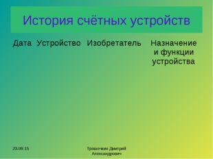 История счётных устройств * Трошечкин Дмитрий Александрович ДатаУстройствоИ