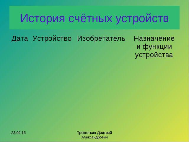 История счётных устройств * Трошечкин Дмитрий Александрович ДатаУстройствоИ...