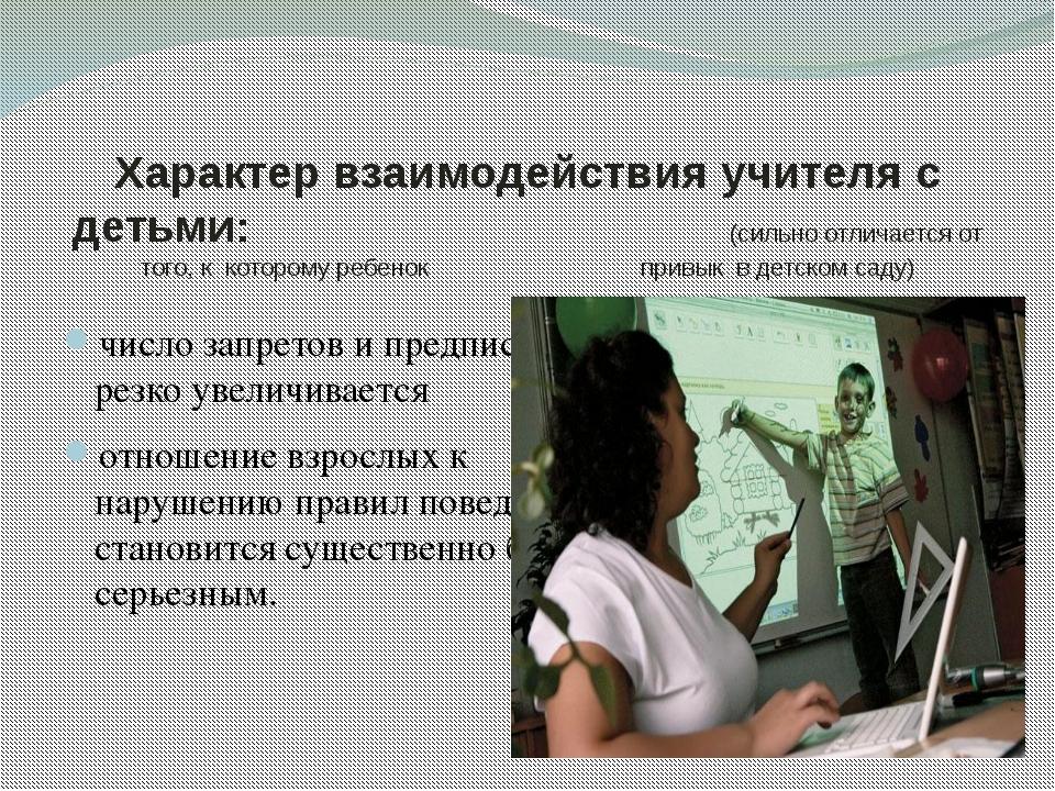 Характер взаимодействия учителя с детьми: (сильно отличается от того, к котор...