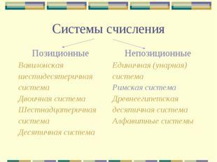Системы счисления Позиционные Вавилонская шестидесятеричная система Двоичная