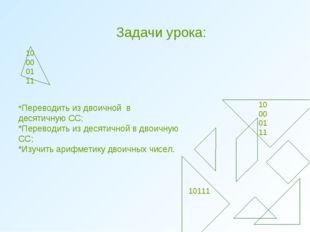 Задачи урока: 0 100001 11 10 00 01 11 10111 *Переводить из двоичной в десятич