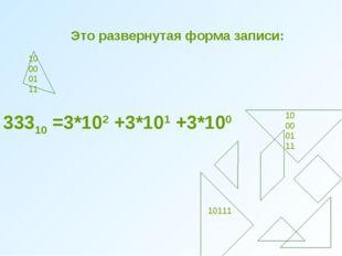 Это развернутая форма записи: 0 100001 11 10 00 01 11 10111 33310 =3*102 +3*1