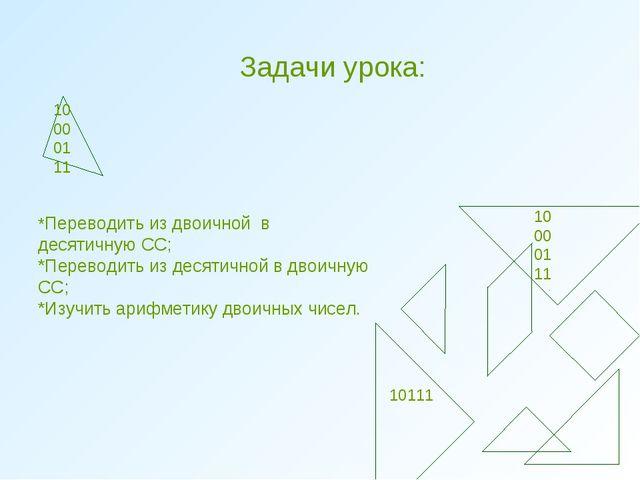 Задачи урока: 0 100001 11 10 00 01 11 10111 *Переводить из двоичной в десятич...