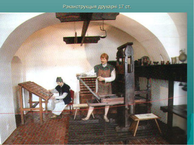 Рэканструкцыя друкарні 17 ст.