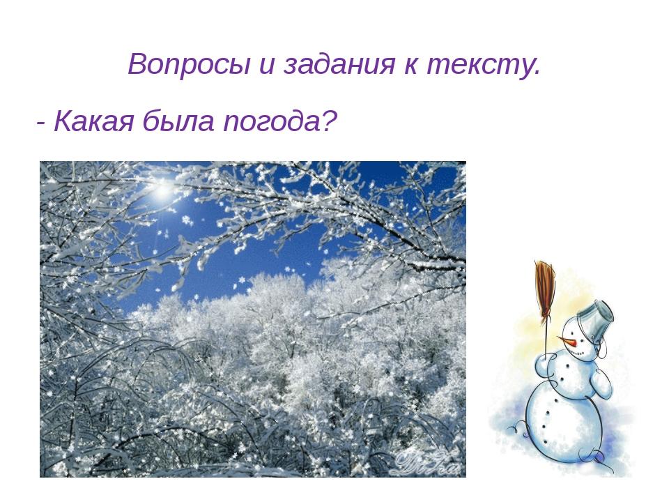 Вопросы и задания к тексту. - Какая была погода?